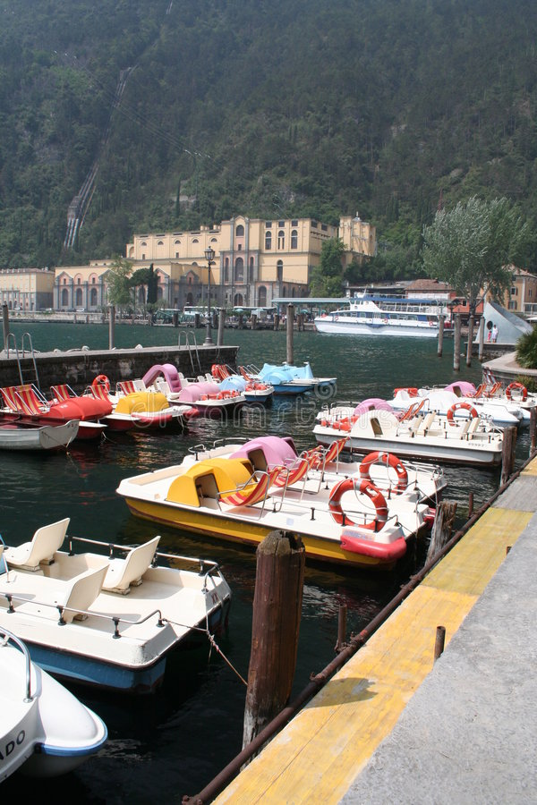 Pedalos in Harbor. royalty free stock images