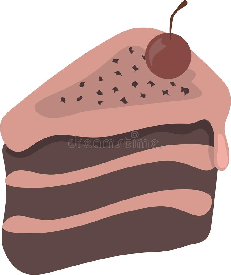 Pedazo agradable lindo de la historieta de torta con la cereza libre illustration