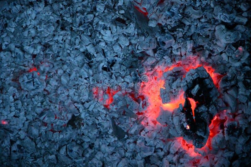Pedazo agrietado grande de registro de la leña que arde con el interior rojo de la llama y el fondo gris de las cenizas fotos de archivo libres de regalías