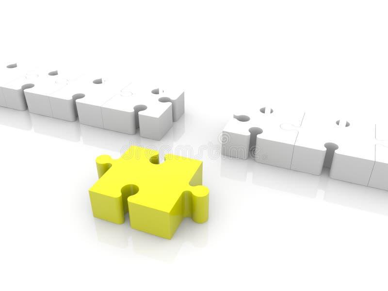 Pedazo amarillo del rompecabezas fuera de la fila libre illustration