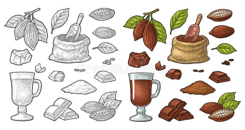 Pedazo, barra y afeitado del chocolate Grabado del negro del vintage del vector stock de ilustración