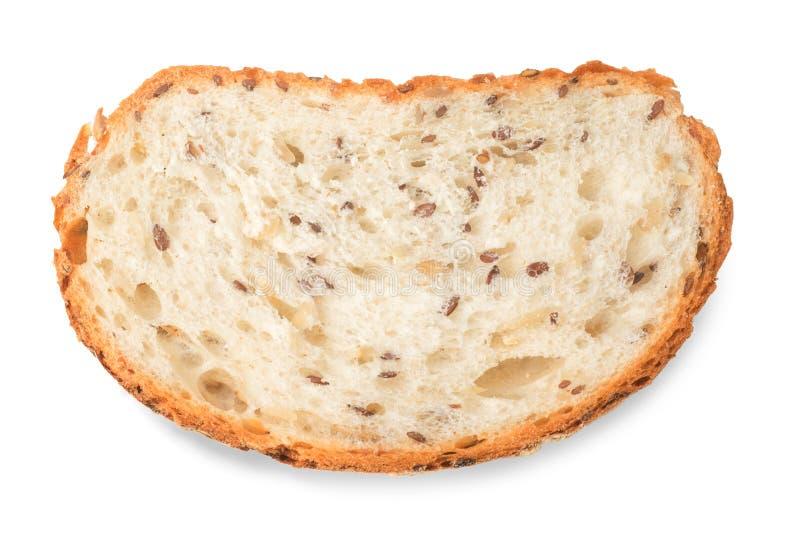 Pedazo cortado del pan blanco aislado con la trayectoria de recortes imagen de archivo