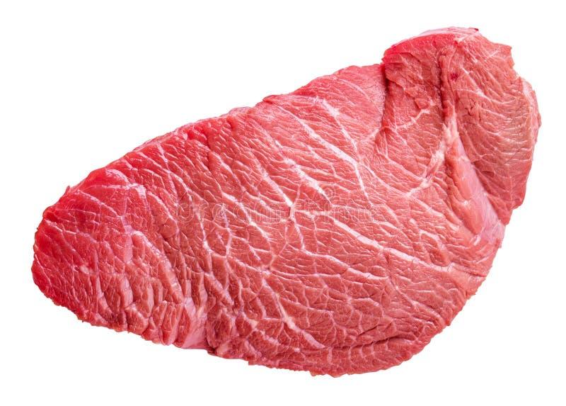 Pedazo crudo fresco de carne de la carne de vaca aislado en el fondo blanco fotografía de archivo libre de regalías