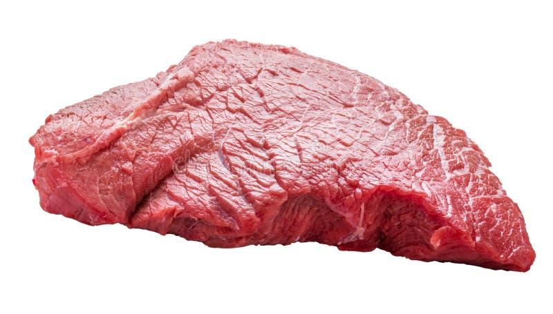 Pedazo crudo fresco de carne de la carne de vaca aislado en el fondo blanco fotos de archivo