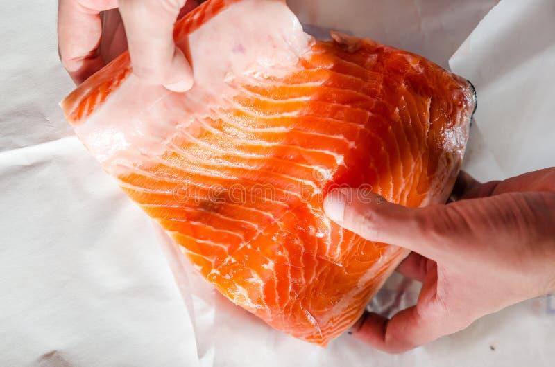 Pedazo crudo grande de prendedero de color salmón fotos de archivo libres de regalías