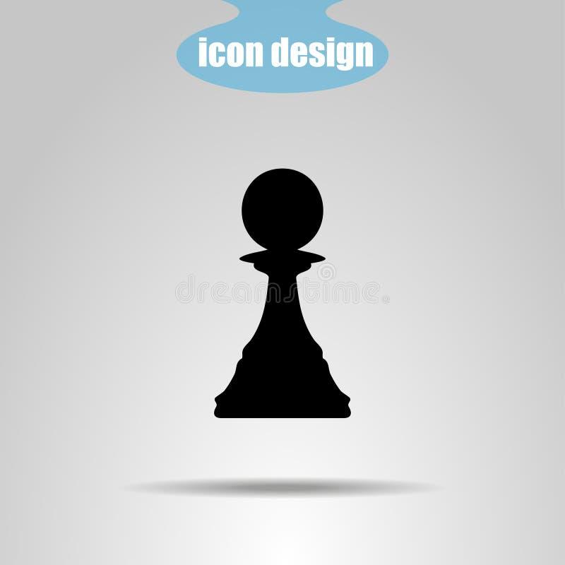 Pedazo de ajedrez del icono en un fondo gris Ilustración del vector empeño ilustración del vector