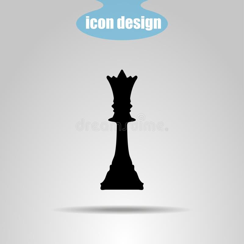 Pedazo de ajedrez del icono en un fondo gris Ilustración del vector reina libre illustration
