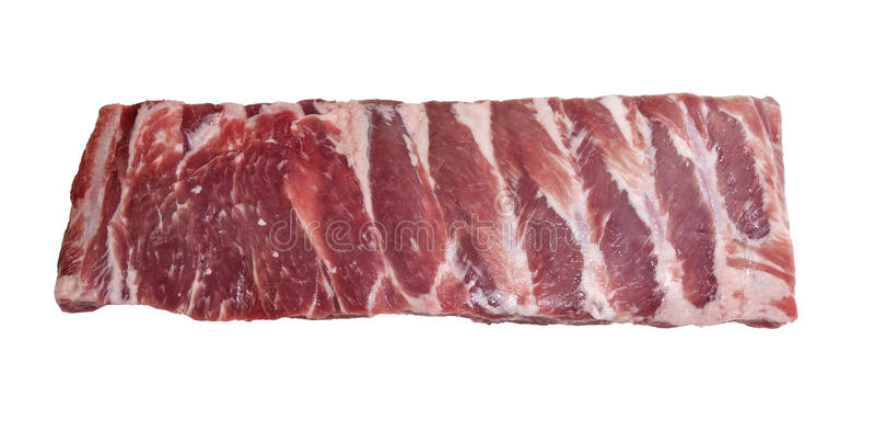 Pedazo de costillas frescas del lado del cerdo foto de archivo