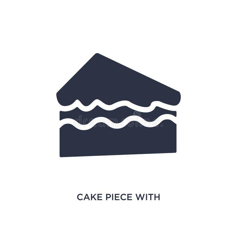 pedazo de la torta con el icono poner crema en el fondo blanco Ejemplo simple del elemento del concepto de los bistros y del rest ilustración del vector