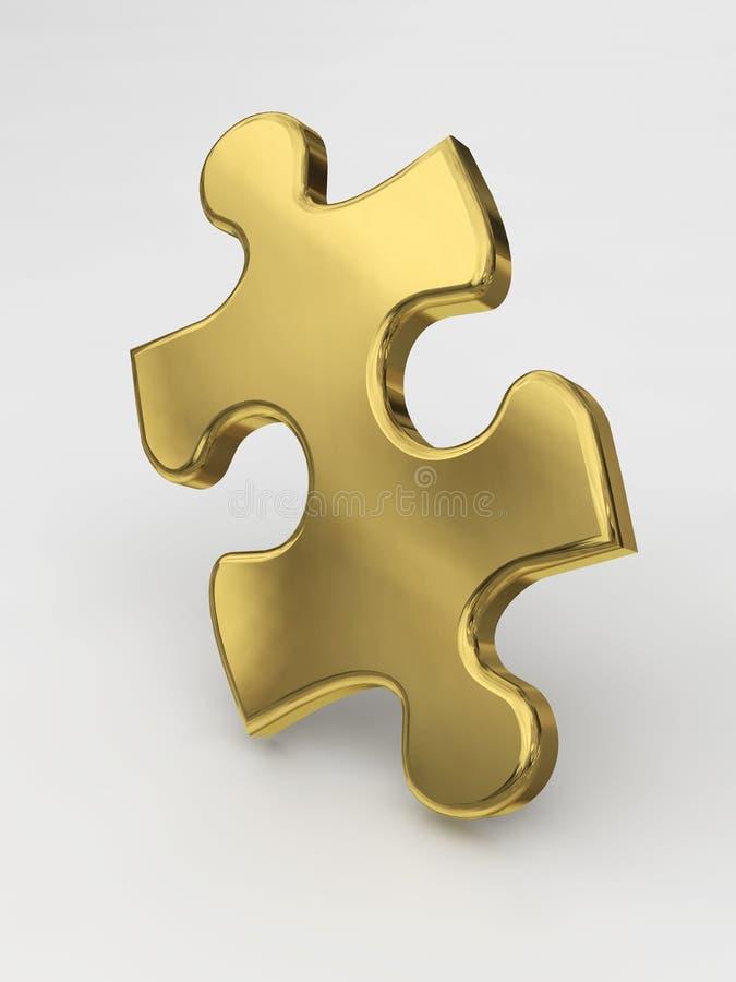 Pedazo de oro del rompecabezas ilustración del vector