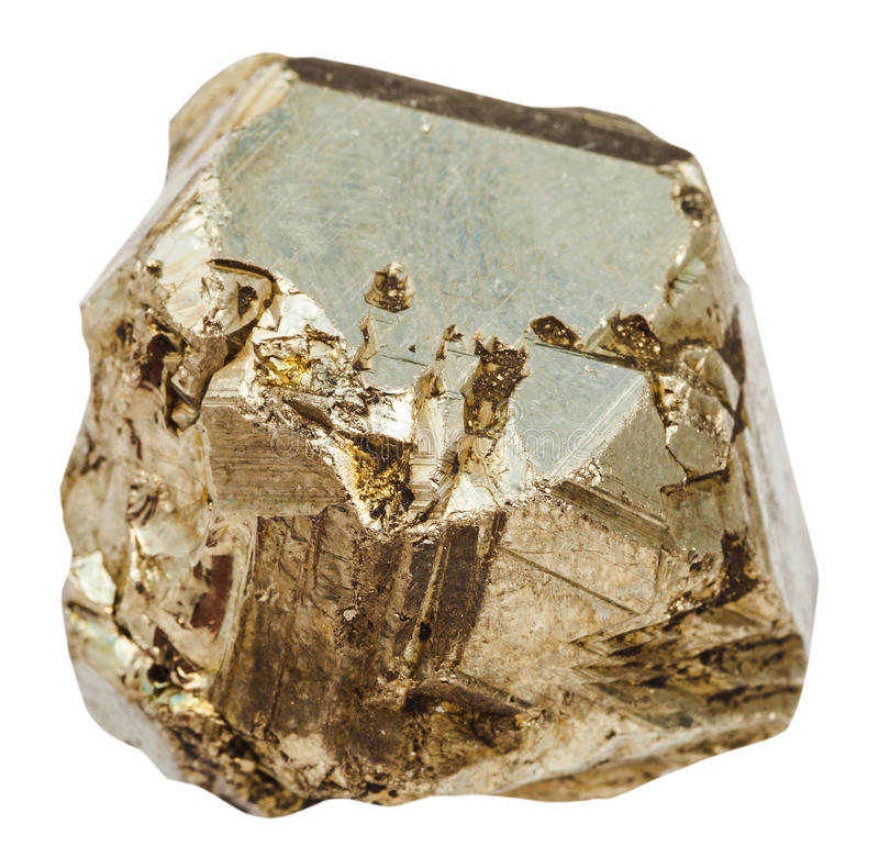 Pedazo de piedra de la pirita aislado fotografía de archivo