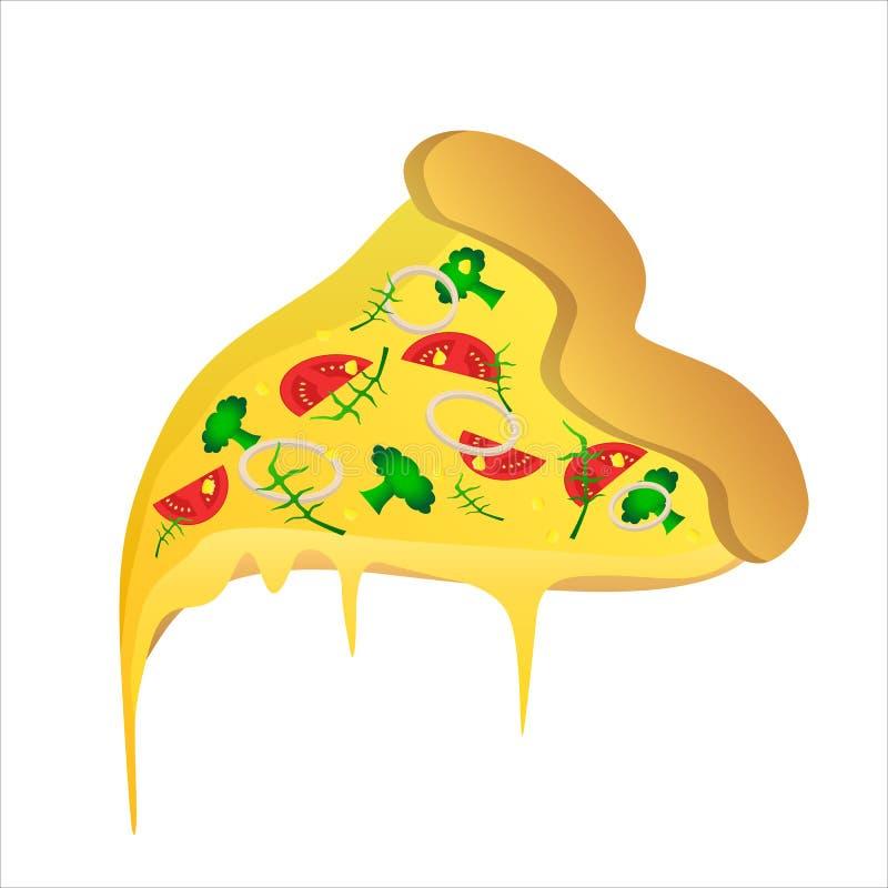 Pedazo de pizza vegetariana con el tomate y el queso ilustración del vector