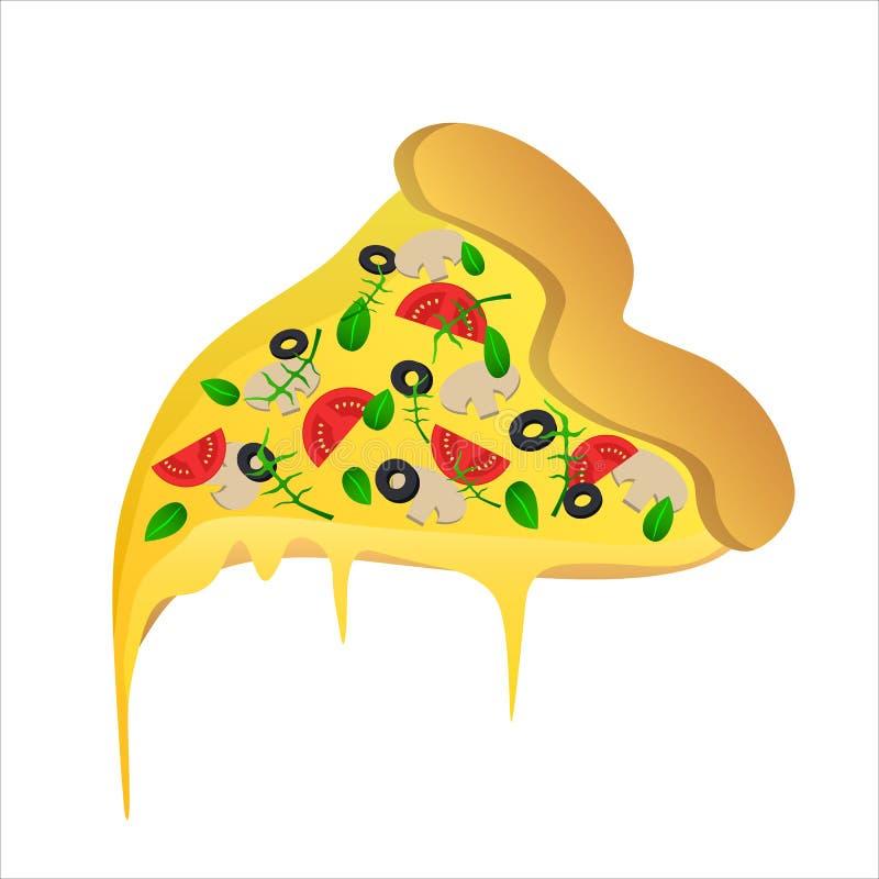 Pedazo de pizza vegetariana con la aceituna y el queso stock de ilustración