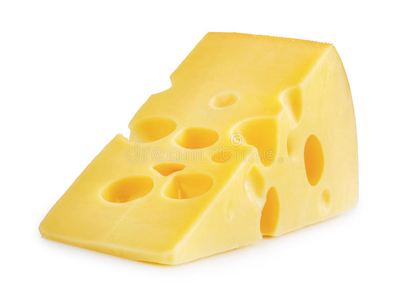 Pedazo de queso aislado fotografía de archivo