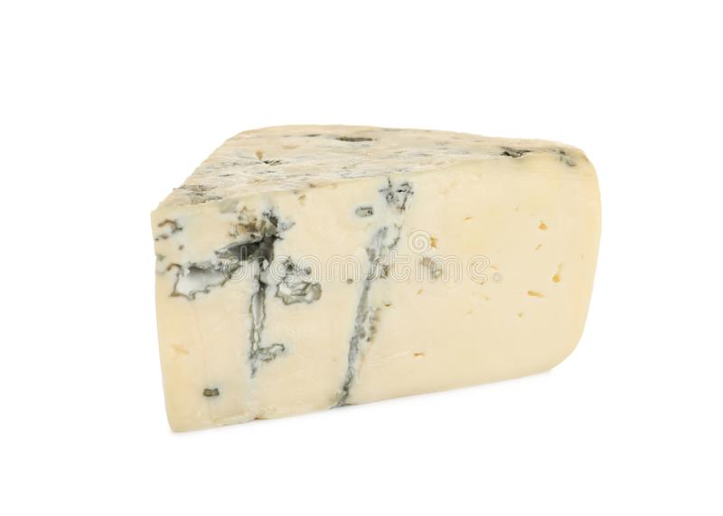 Pedazo de queso verde delicioso en blanco fotos de archivo libres de regalías