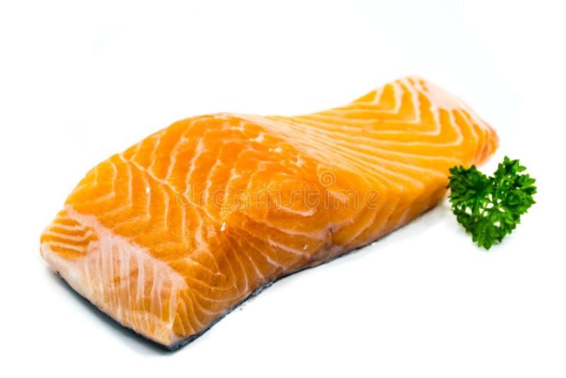 Pedazo de salmones crudos aislados en el fondo blanco imagen de archivo