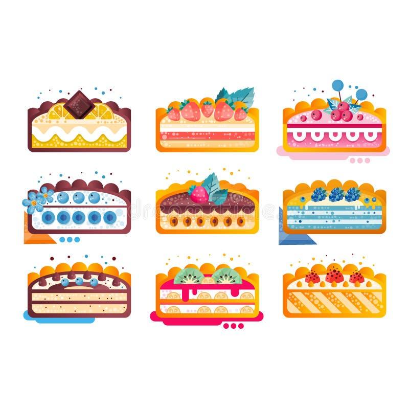 Pedazo de sistema delicioso acodado de la torta, tortas con los diversos ingredientes con las frutas y bayas en el ejemplo superi ilustración del vector