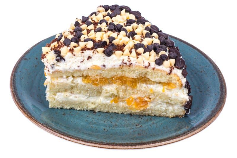 Pedazo de torta baja en calorías de la fruta Postre sano imagen de archivo libre de regalías