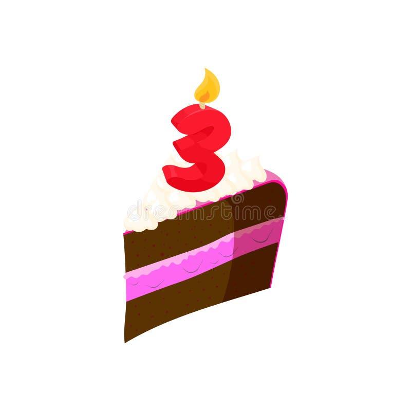 Pedazo de torta con el icono del número tres de la vela libre illustration