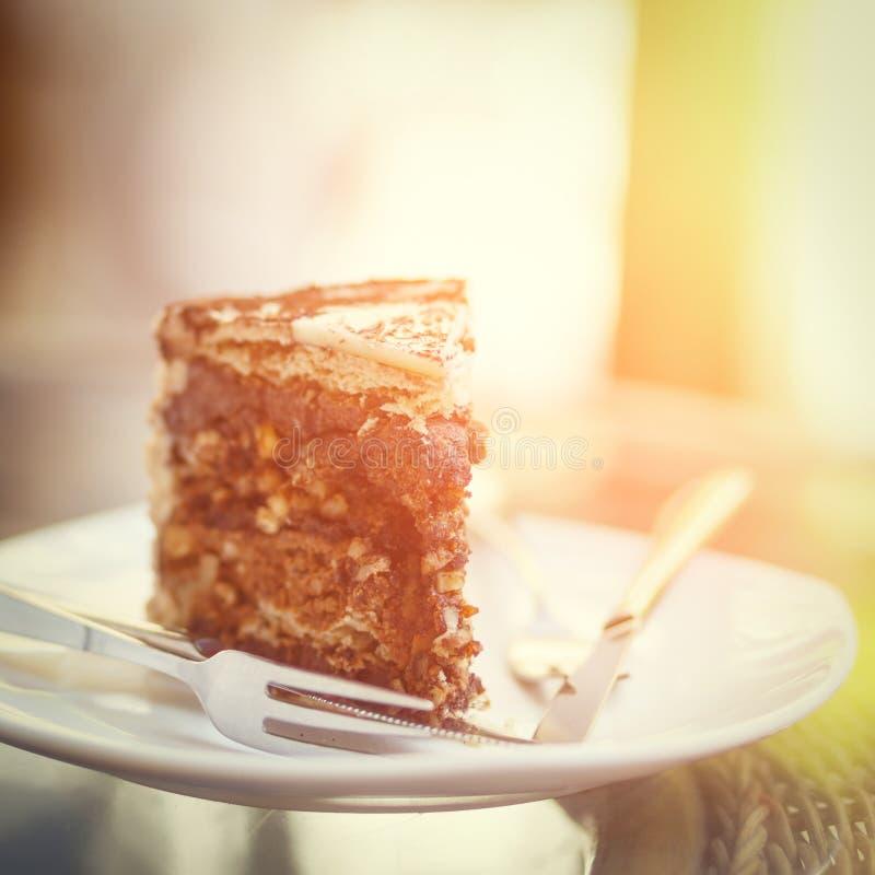 Pedazo de torta de chocolate en la placa imagen de archivo