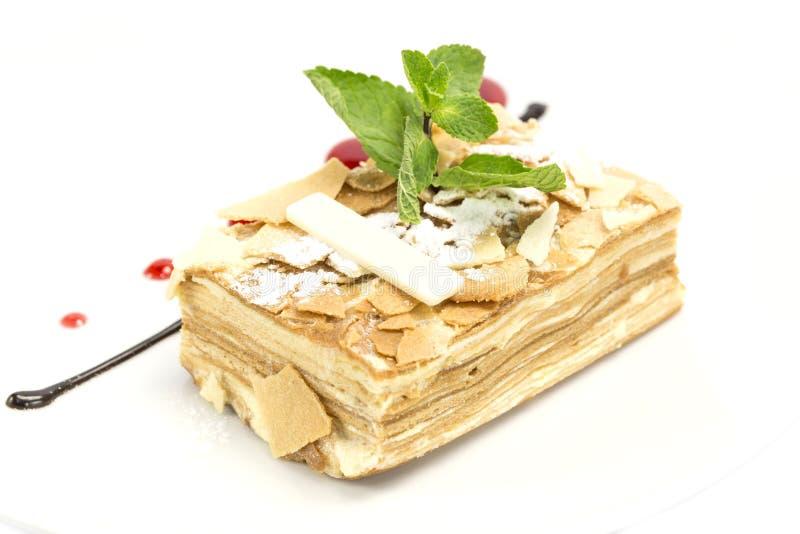 Pedazo de torta napoleon imagen de archivo