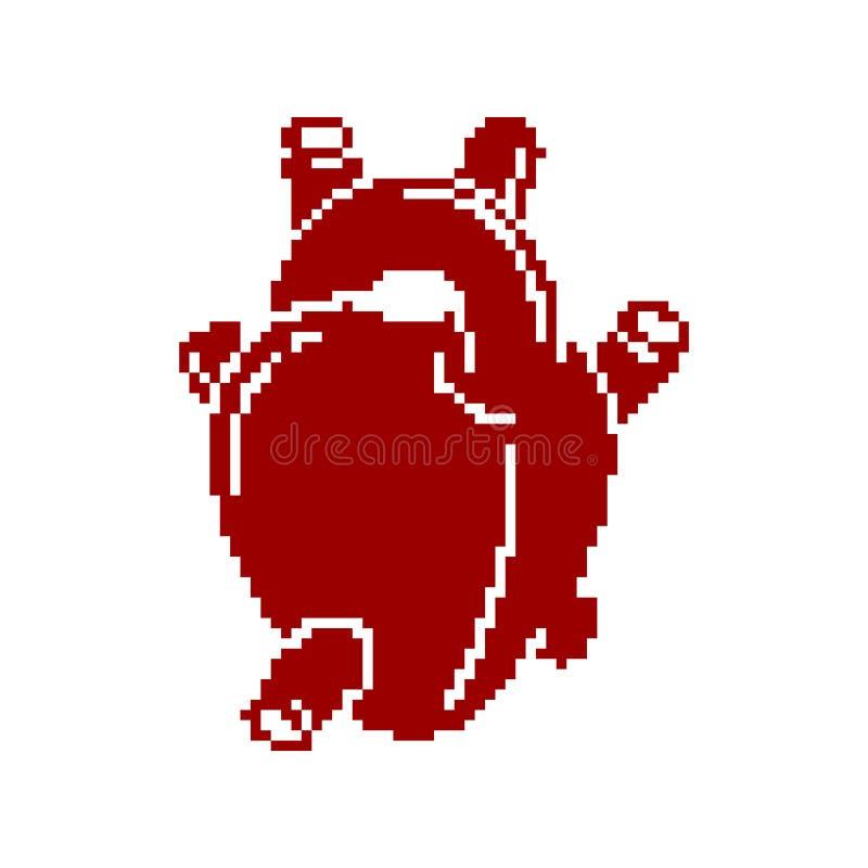 Pedazo del arte 8 del pixel del órgano de la anatomía del corazón Ilustración del vector stock de ilustración
