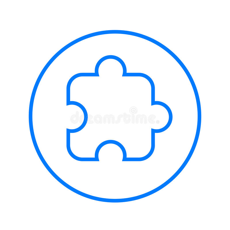 Pedazo del rompecabezas, línea circular enchufable icono Muestra colorida redonda Símbolo plano del vector del estilo stock de ilustración
