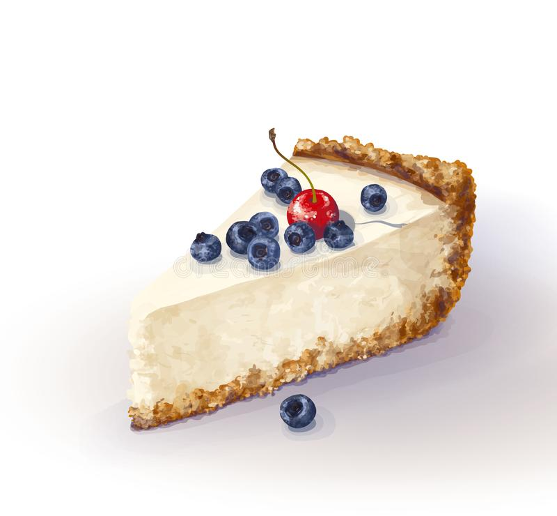 Pedazo del vector de torta del pastel de queso con queso airoso y blando, delicado de la cremoso-cuajada Patata a la inglesa y to ilustración del vector