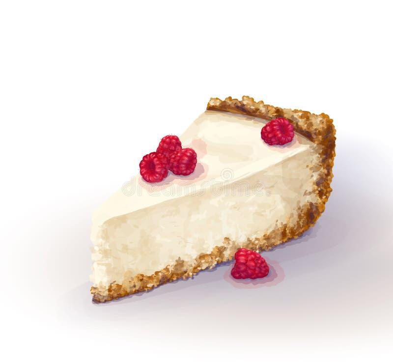 Pedazo del vector de torta del pastel de queso con queso airoso y blando, delicado de la cremoso-cuajada Torta quebradiza y desme libre illustration