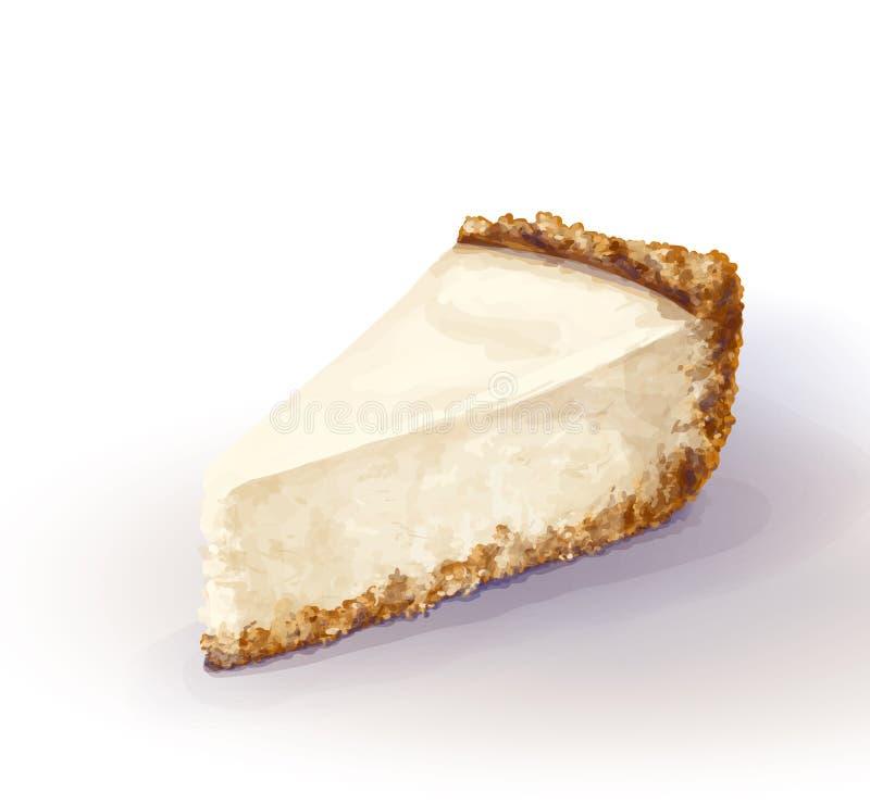 Pedazo del vector de torta del pastel de queso con queso airoso y blando, delicado de la cremoso-cuajada Torta quebradiza y desme stock de ilustración