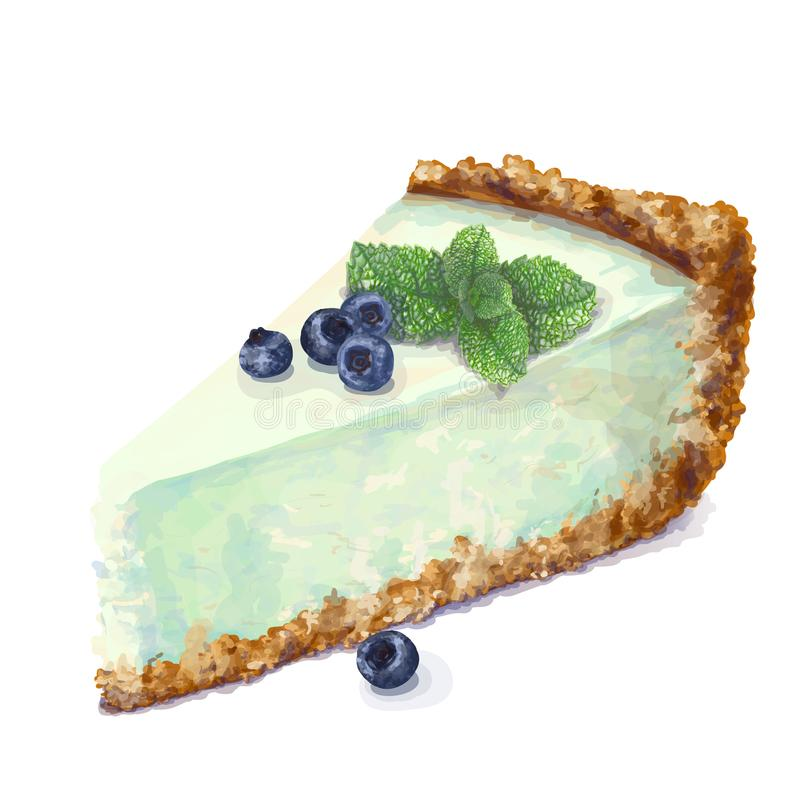 Pedazo del vector de torta del pastel de queso con queso-crema airosa y blanda, delicada de la cremoso-hierbabuena Patata a la in libre illustration