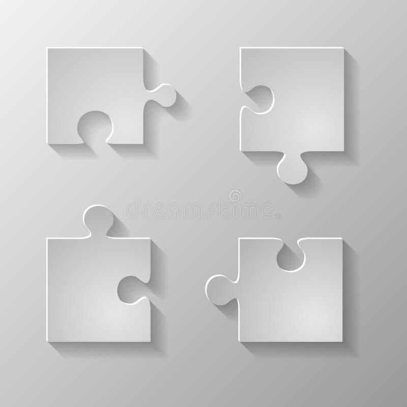 Pedazo gris el puzzlу stock de ilustración