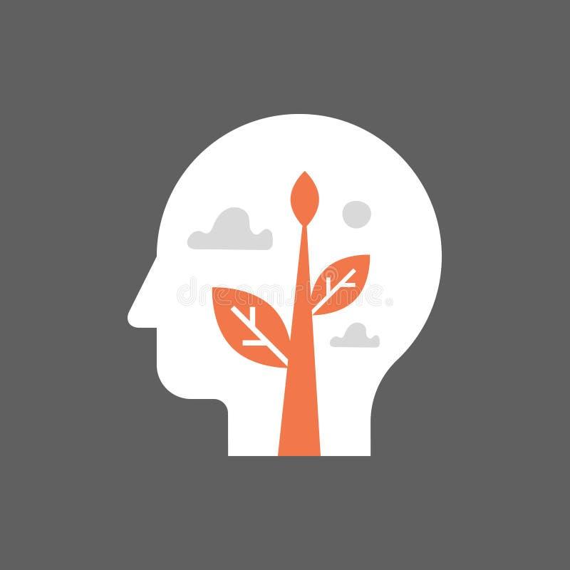 Pedazo interno, crecimiento del uno mismo, desarrollo potencial, salud mental, modo de pensar positivo, forma de vida atenta, prá ilustración del vector