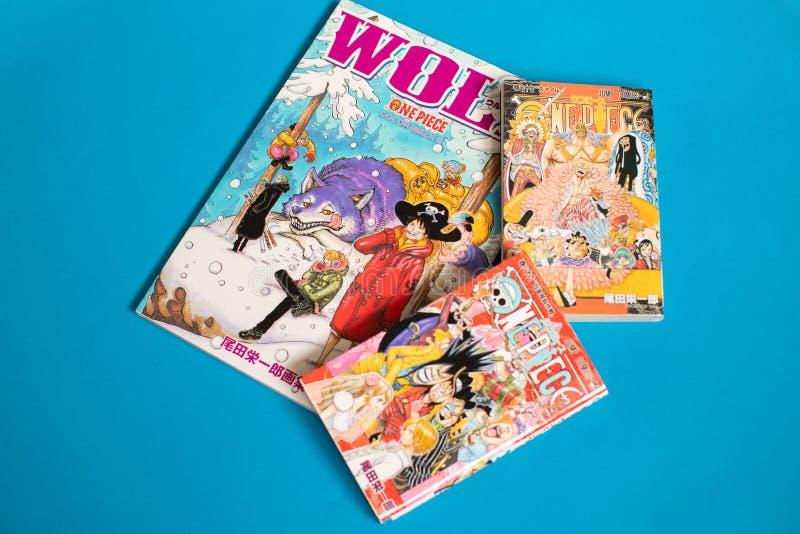 Pedazo japonés de Manga One - cómic publicado en revista semanal del salto de Shonen fotos de archivo