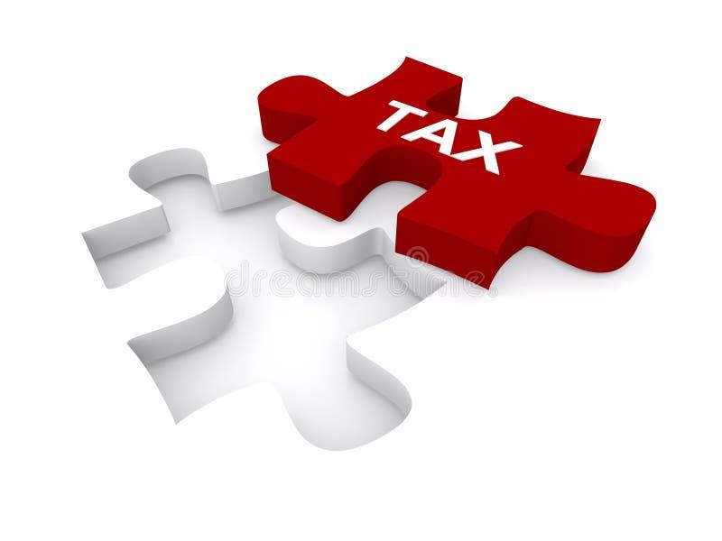 Pedazo rojo del rompecabezas del impuesto ilustración del vector