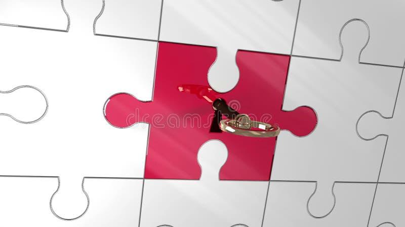Pedazo rojo que desbloquea dominante de rompecabezas que muestra la innovación libre illustration