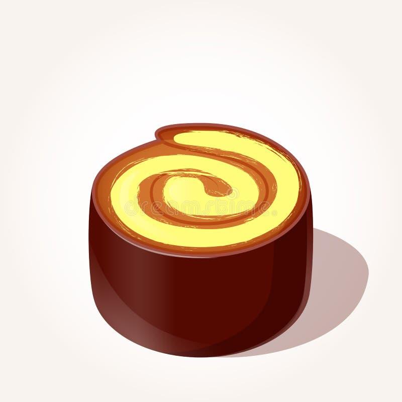 Pedazo sabroso colorido de rollo del chocolate con la crema del limón en estilo de la historieta aislada en el fondo blanco Vecto ilustración del vector