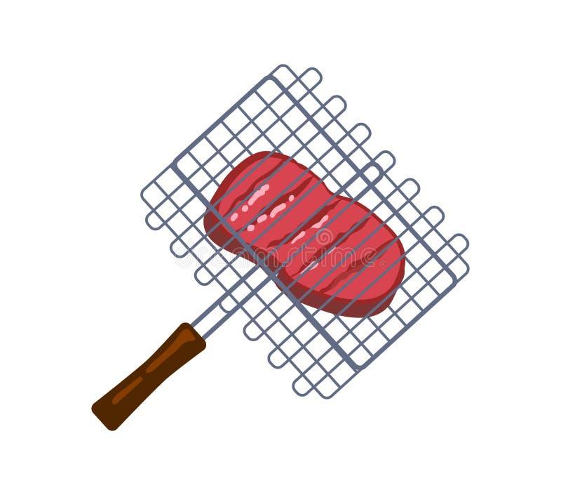 Pedazo suculento en rejilla de la barbacoa, tarjeta de la carne del color libre illustration