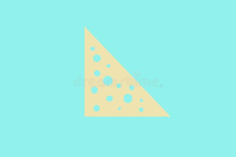 Pedazo triangular de queso con los agujeros en un fondo de la menta libre illustration