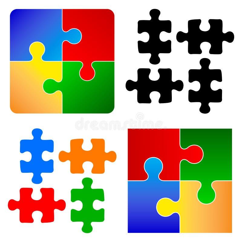 Pedazos básicos del rompecabezas ilustración del vector
