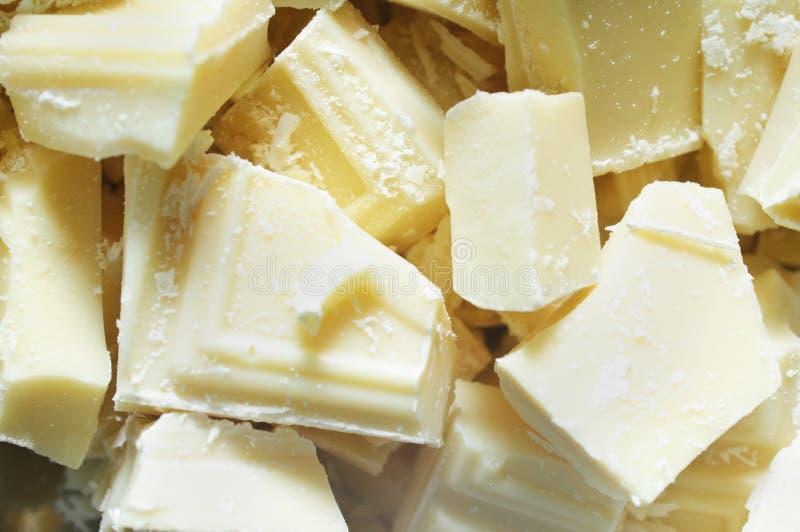 Pedazos blancos del chocolate fotos de archivo libres de regalías