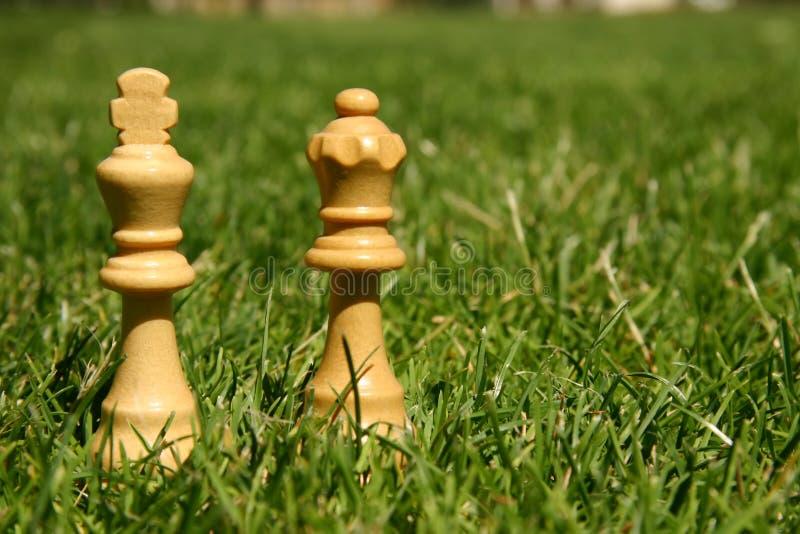 Pedazos de ajedrez del rey y de la reina imagen de archivo libre de regalías