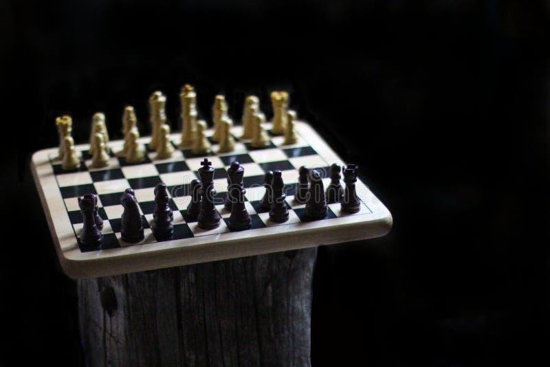 Pedazos de ajedrez en una tabla de madera imagen de archivo
