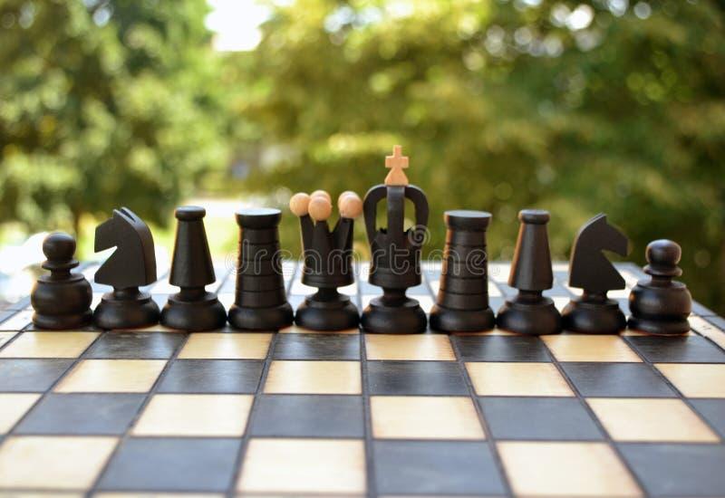 Pedazos de ajedrez en una tarjeta de ajedrez foto de archivo libre de regalías