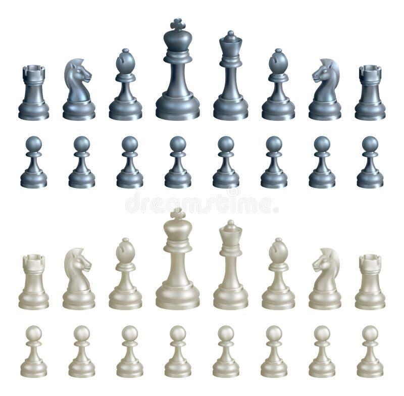 Pedazos de ajedrez fijados ilustración del vector