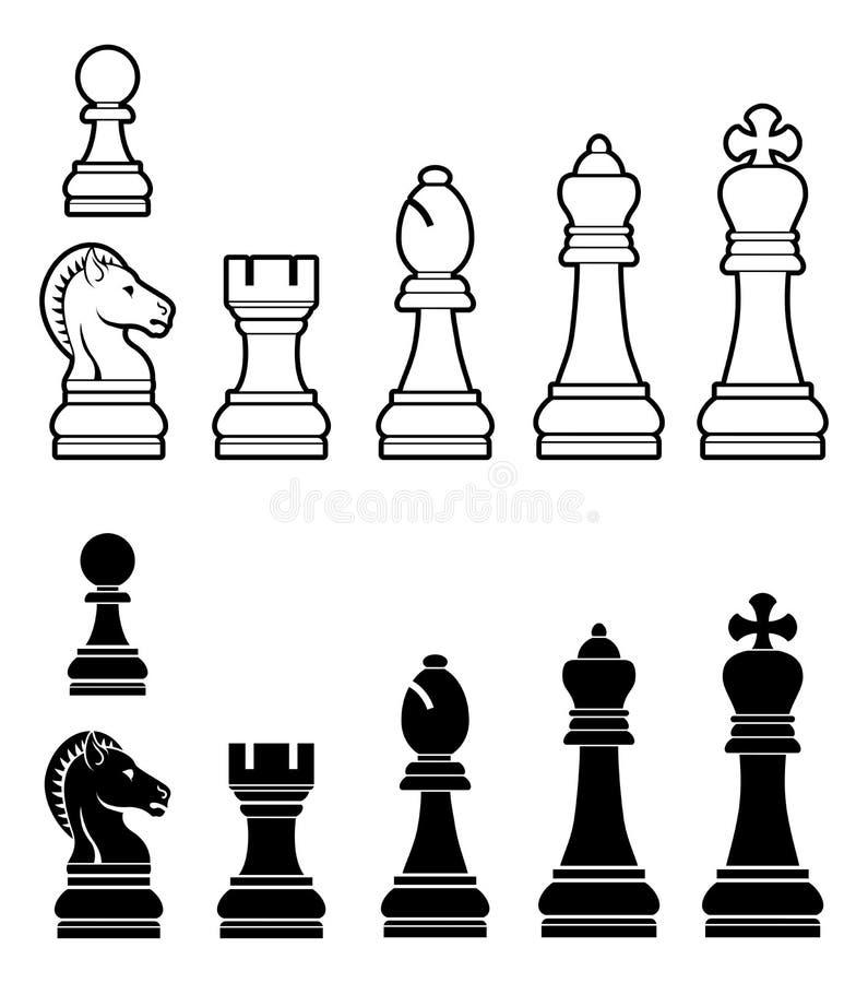 Pedazos de ajedrez fijados stock de ilustración