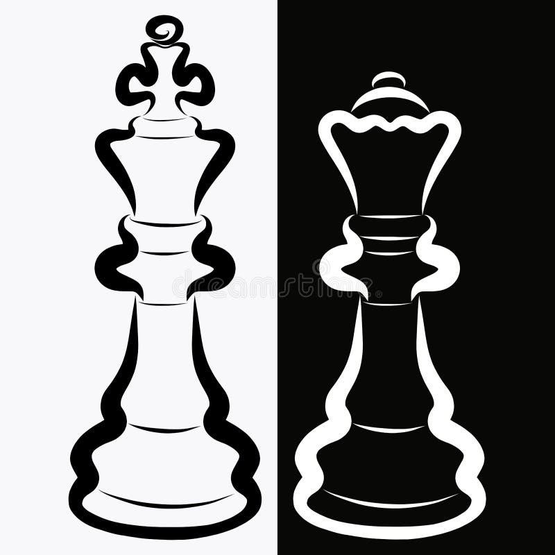 Pedazos de ajedrez, rey negro y reina blanca, rivalidad o romance ilustración del vector