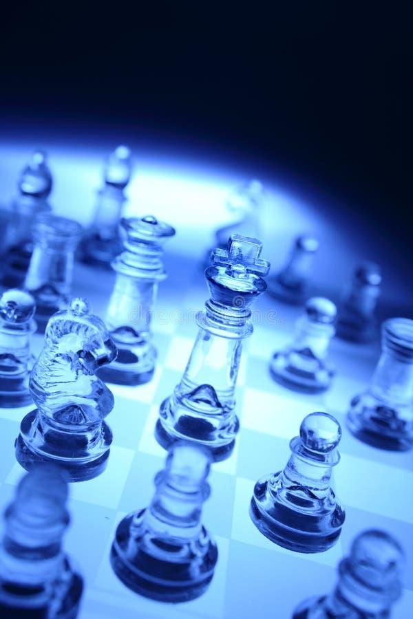 Pedazos de ajedrez transparentes fotos de archivo libres de regalías