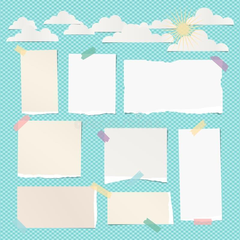 Pedazos de blanco rasgado, de nota en blanco beige, de papel del cuaderno con las nubes y de sol en fondo de la turquesa ilustración del vector