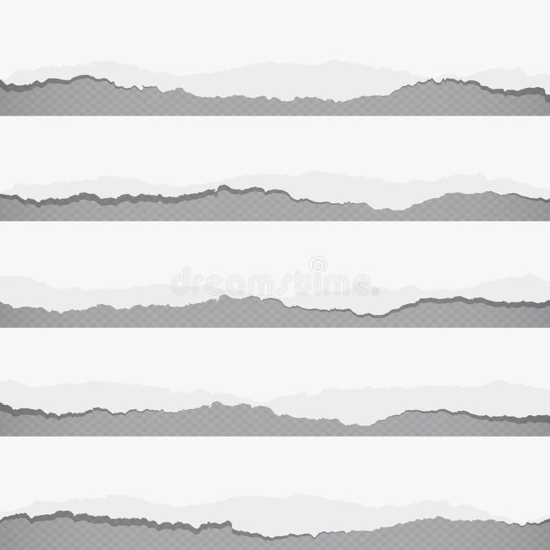Pedazos de documento en blanco blanco rasgado sobre el gris ajustado, fondo rayado libre illustration